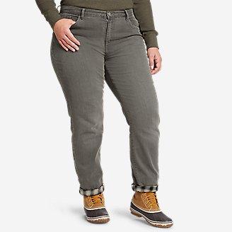 Women's Boyfriend Flannel-Lined Jeans in Gray