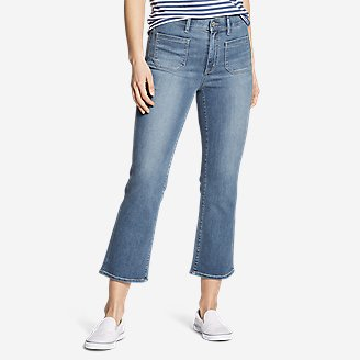 Women's Elysian High-Rise Kick Flare Patch Pocket Crop Jeans in Blue