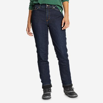 Women's Voyager Fleece-Lined High-Rise Jeans - Slightly Curvy Slim Straight in Blue