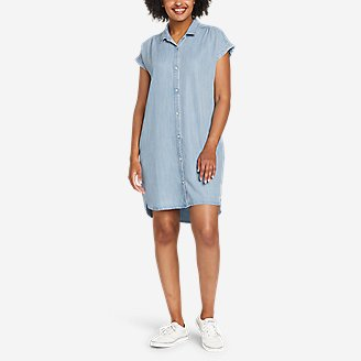 Women's Tranquil Shirred Shirt Dress - Solid in Blue