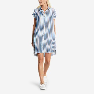 Women's Tranquil Shirred Shirt Dress - Yarn-Dyed in Blue