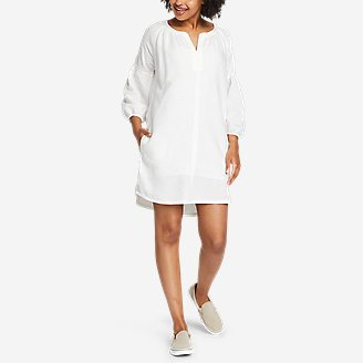 Women's Linen Split-Neck Dress in White