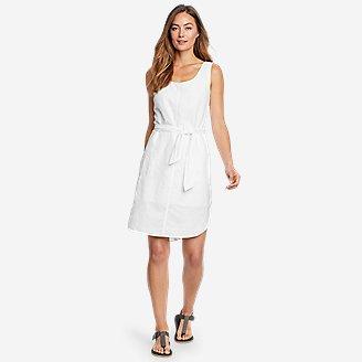 Women's Beach Light Linen Midi Dress in White