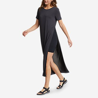 Women's Sandwash Short-Sleeve Midi Dress in Black