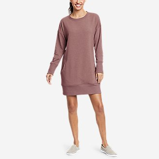 Women's Cozy Camp Sweatshirt Dress in Pink