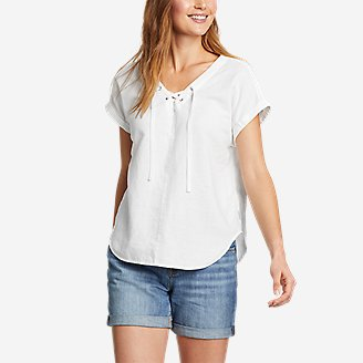 Women's Beach Light Short-Sleeve Lace-Up Top in White