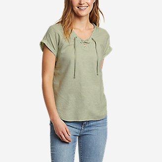 Women's Beach Light Short-Sleeve Lace-Up Top in Green