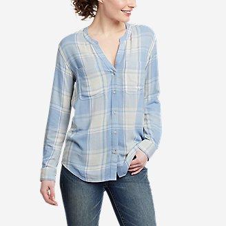 Women's Rivierah Long-Sleeve Y-Neck Shirt in Blue
