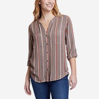 Women's Rivierah Long-Sleeve Y-Neck Shirt in Gray
