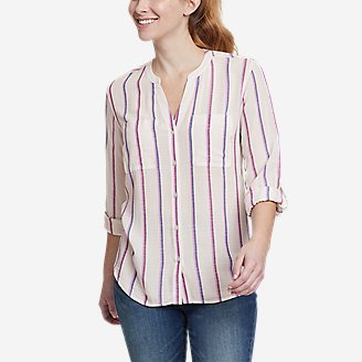 Women's Rivierah Long-Sleeve Y-Neck Shirt in White