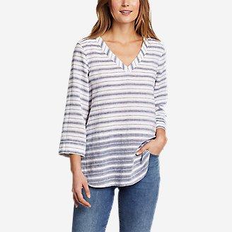 Women's Beach Light Linen 3/4-Sleeve Tunic in Blue