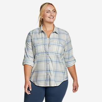 Women's Expedition Pro Long-Sleeve Flannel Shirt in Blue