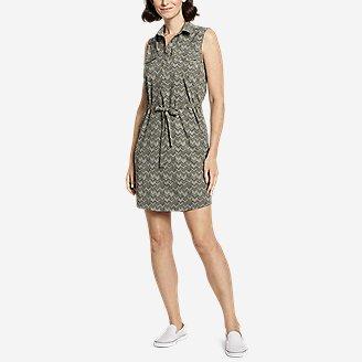 Women's Departure Sleeveless Shirt Dress - Print in Green