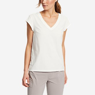 Women's Departure Short-Sleeve V-Neck T-Shirt in White