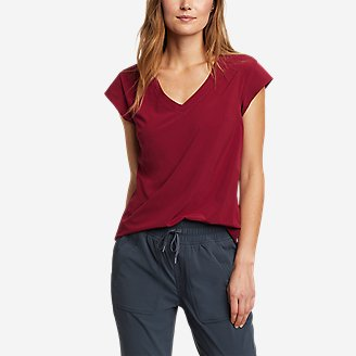 Women's Departure Short-Sleeve V-Neck T-Shirt in Red