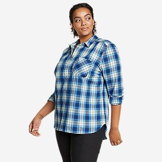 Women's Eddie Bauer Expedition Performance Flannel 2.0 Shirt in Blue