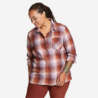 Women's Eddie Bauer Expedition Performance Flannel 2.0 Shirt in Red
