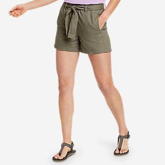 Women's Linen Shorts in Green