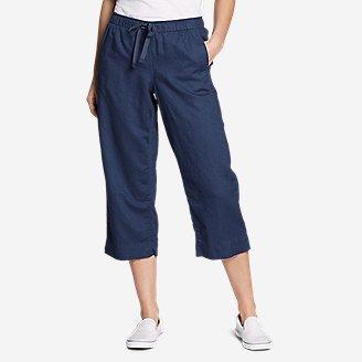 Women's Linen Pull-On Wide-Leg Crop Pants in Blue