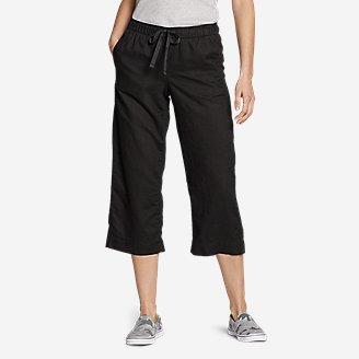 Women's Linen Pull-On Wide-Leg Crop Pants in Gray