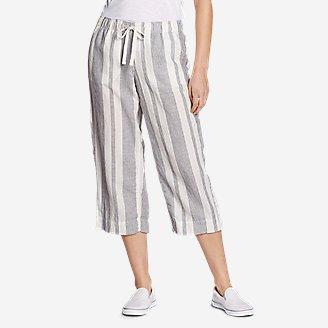 Women's Linen Pull-On Wide-Leg Crop Pants in White