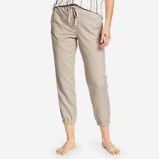 Women's Linen Pull-On Jogger Pants in Beige