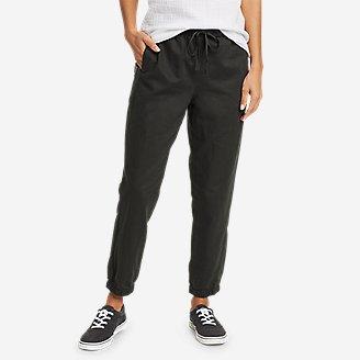 Women's Linen Pull-On Jogger Pants in Gray