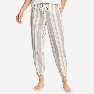 Women's Linen Pull-On Jogger Pants in White