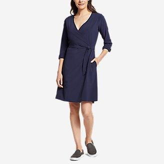 Women's Departure Long-Sleeve Wrap Dress in Blue
