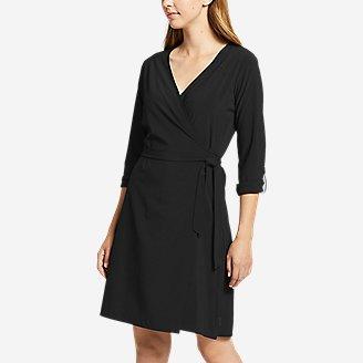 Women's Departure Long-Sleeve Wrap Dress in Black