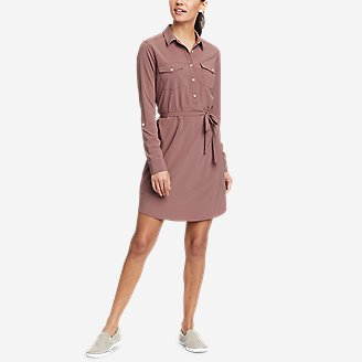 Women's Departure Long-Sleeve Shirt Dress in Pink