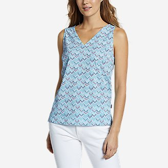 Women's Departure V-Neck Tank Top - Print in Blue