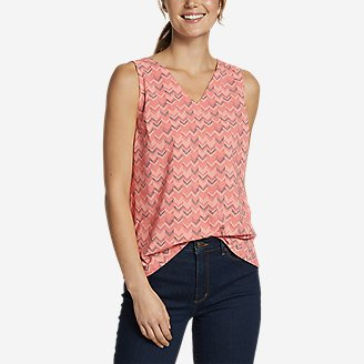 Women's Departure V-Neck Tank Top - Print in Green