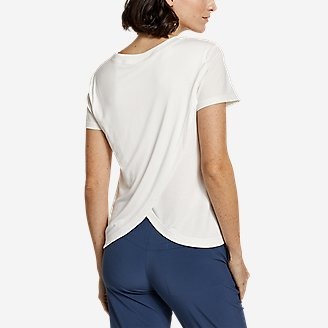 Women's Departure Lite Mixed-Knit T-Shirt in White