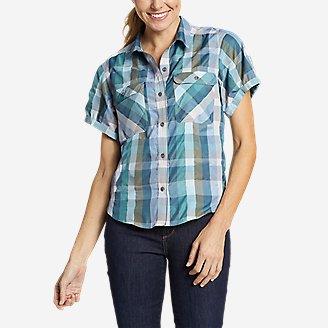 Women's Mountain Short-Sleeve Camp Shirt in Blue