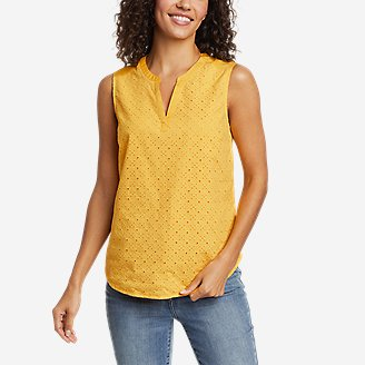 Women's On The Go Eyelet Tank Top in Yellow