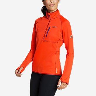 Women's High Route Grid Fleece 1/4-Zip in Red