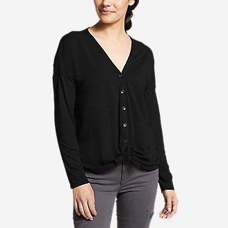 Women's Gate Check Long-Sleeve Convertible Top in Black