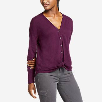 Women's Gate Check Long-Sleeve Convertible Top in Purple