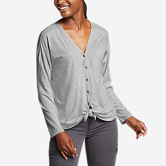 Women's Gate Check Long-Sleeve Convertible Top in Gray