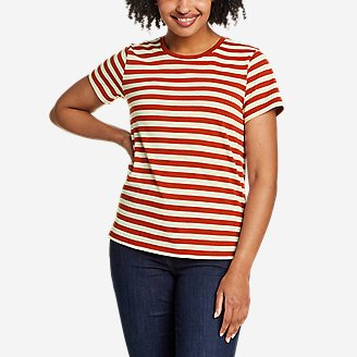 Women's Myriad Short-Sleeve Crew - Stripe in Red