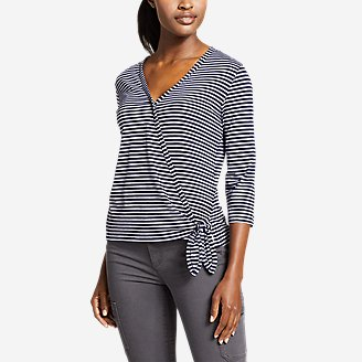 Women's Gate Check 3/4-Sleeve Wrap-Front Top - Stripe in Blue