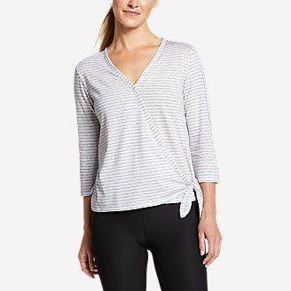Women's Gate Check 3/4-Sleeve Wrap-Front Top - Stripe in Gray
