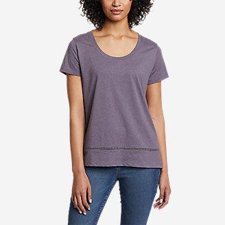 Women's Myriad Short-Sleeve Ladder-Lace T-Shirt in Purple