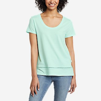 Women's Myriad Short-Sleeve Ladder-Lace T-Shirt in Green