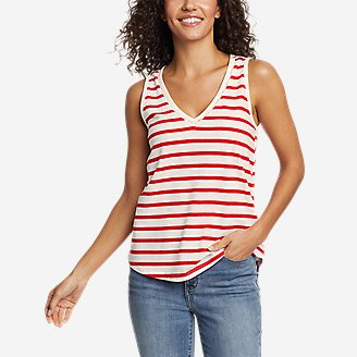 Women's Myriad Ladder Lace V-Neck Tank Top in Red