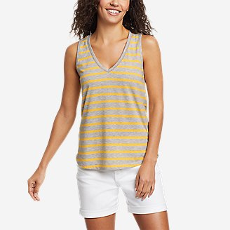 Women's Myriad Ladder Lace V-Neck Tank Top in Yellow