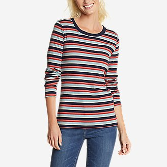 Women's Myriad Rib Long-Sleeve Crew - Stripe in Blue