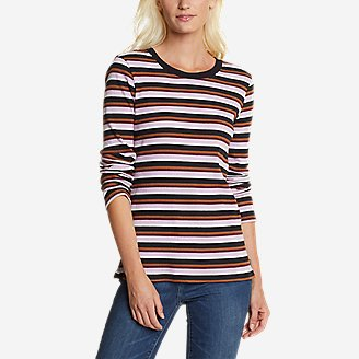 Women's Myriad Rib Long-Sleeve Crew - Stripe in Purple
