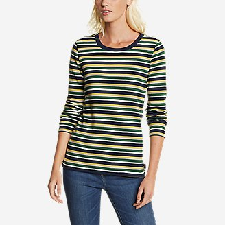 Women's Myriad Rib Long-Sleeve Crew - Stripe in Green